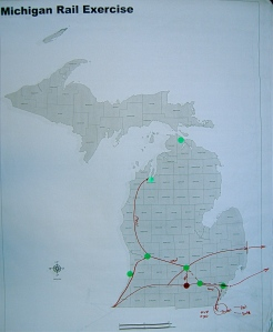 One of the mapscreated during a forum mapping session; this one illustrating new services connecting to Traverse City, Ontario and Toledo, as well as an East-West route between Detroit, Lansing, Grand Rapids and Holland