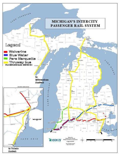 Amtrak Thruway MI Map